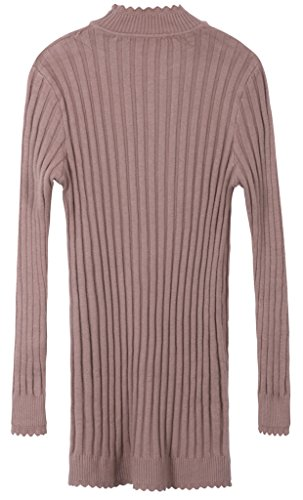 Vogueearth Femme's Longue Manche Knit Slim-Fit Elasticity Pullover Tunic Sweater Chandail Tricots Kaki Longue