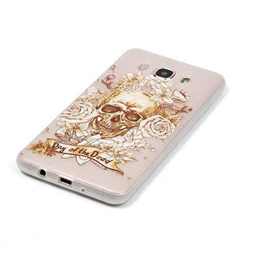 Samsung Galaxy J7 (2016 Version) Coque Gel TPU Silicone Etui Intégrale Transparent Case pour Samsung Galaxy J7 (2016 Version) Housse Protection Full Silicone Souple Case, Vandot Samsung Galaxy J7 (201 Night-crâne