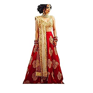 "Jay Bajrang Fashion Women""s Taffeta Silk Embroidered Lehenga Choli (Red, Free Size)"