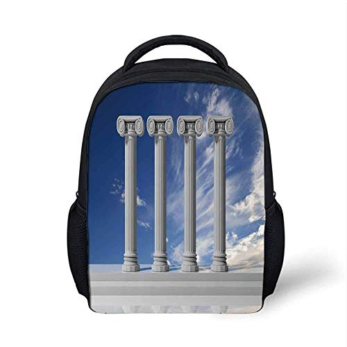 Pillar Decor Stylish Backpack,Historical Theme Four Ancient Marble Pillars and The Sky Digital Image for School Travel,9.4