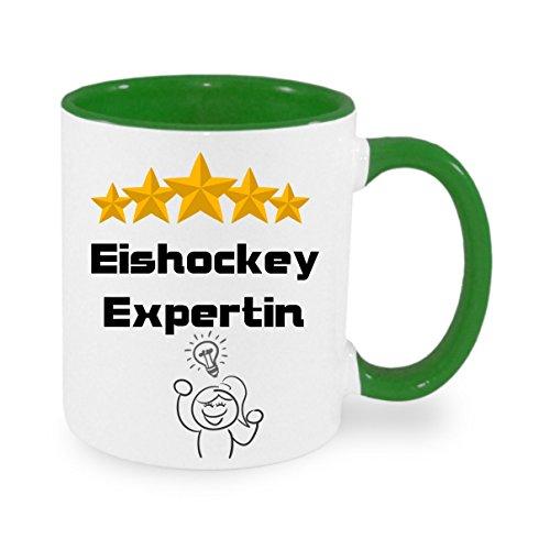 Eishockey Expertin - Kaffeetasse mit Motiv, bedruckte Tasse mit Sprüchen oder Bildern