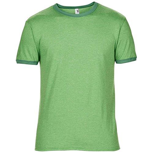 Anvil Herren Ringer T-Shirt mit Rundhalsausschnitt, Kurzarm, besonders leicht (Small) (Grün meliert/Kellygrün)