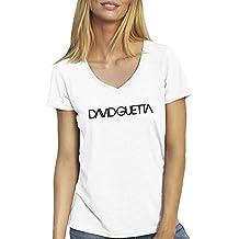 David Guetta Famous DJ House T-shirt Col V pour les femmes