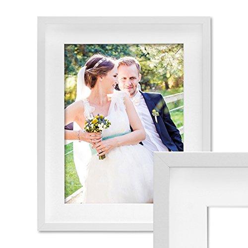 Bilderrahmen Objektrahmen 50x70 cm 3D-Rahmen Weiss Modern Tief MDF-Rahmen mit Passepartout u. Glasscheibe / Fotorahmen Großen Rahmen Gläser