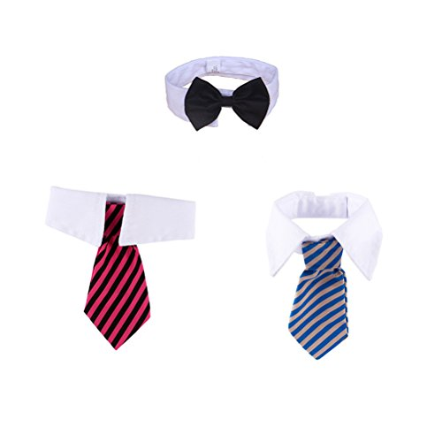 UKCOCO 3Pcs Haustier-Hundekatze-Hals-Krawatten mit Bowknot-Streifen-Entwurfs-justierbarer Querbinder und Kragen-Größe L
