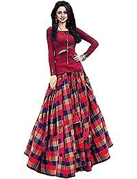 dca9f3af486383 Bhakti Nandan Women s Taffeta Silk Semi-Stitched Lehenga Choli(Free Size)