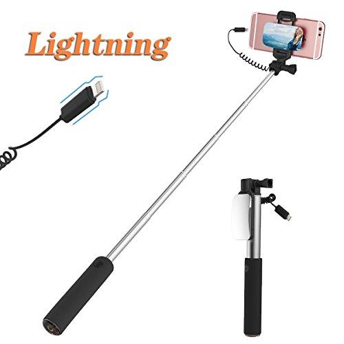 iPhone 7 Plus Selfie Stick, ROCK Großer Spiegel Ausfahrbar Selfie Stange [iPhone Lightning Stecker][24.5 bis 90CM] für iPhone 8 7 6s 6 Plus und iPhone 5s 5 (Schwarz)