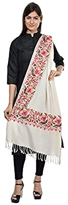 The MadhuSudan Gallery Women's Woolen Kashmiri Embroidered Shawl (X-038,Off White,30 x 80-inch)