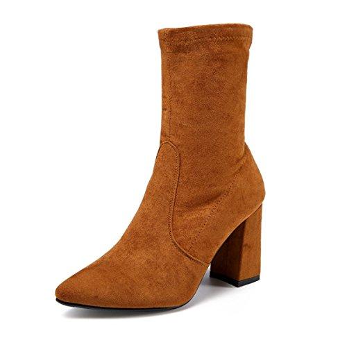 HBDLH-Damenschuhe/Winter - Stiefel aus Mitte 9Cm High Heels Rau und Einfachen Wagen Naht Mode - Stiefel Elastische Dünne Beine Frauen - Stiefel.34 Zucker Farbe - Zucker Damen Stiefel