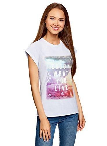 Oodji Ultra Mujer Camiseta Estampada Algodón Borde