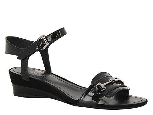 Sandales compensées bas Tod's en cuir verni noir - Code modèle: XXW0PH0E530MD2B999 Noir