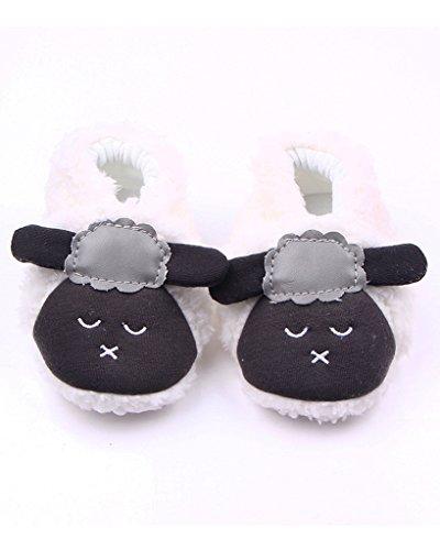 Minetom Unisexe Bébé Chaussures Souples Mignonne Agneau Chaussons Semelles Souples Chaussures Premiers Pas Blanc