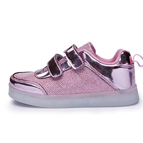 Cores Usb Sapatas Sneakers 7 Carregador De Das Calçado Crianças Tênis Brilhantes Rosa Tamanho escolha Desportivo Um Dogeek Levou Acima 0XOwxY5
