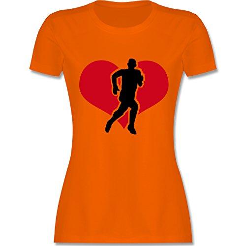 Laufsport - Running - tailliertes Premium T-Shirt mit Rundhalsausschnitt für Damen Orange