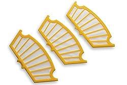 vhbw Ersatz Filter Set gelb 3 Stück für iRobot Roomba 550, 555, 560, 562, 563, 564, 565, 570, 580, 581, 585, 590