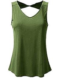 aa7b20e38 Mujer Chalecos Elegante Sin Mangas Top Verano Colores Sólidos Camisas  Especial Estilo Moda Casuales V Cuello
