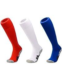 DEBAIJIA 3 Pares Calcetines de Fútbol Deportes al aire Libre de Medias de Fútbol Mujeres/Hombre Niños/Niñas Para Baloncesto, Lacrosse,…