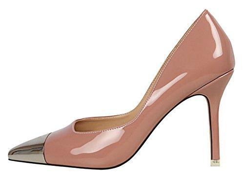 Aisun Damen Metall Lack Glitzer Spitz Hoch Absatz Stiletto Pumps Pink