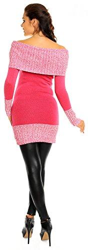Zeta Ville Maternité - Pull grossesse style bardot en maille mélangée femme 913c Fuchsia