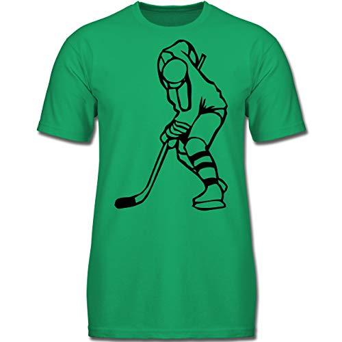 Sport Kind - Eishockeyspieler - 140 (9-11 Jahre) - Grün - F130K - Jungen Kinder T-Shirt