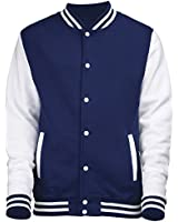 VARSITY COLLEGE JACKET (Oxford Navy/White) NEW PREMIUM Unisex American Style Letterman Blank Baseball Custom Top Mens Womens Ladies Gift Present Quality AWD - By 123t Slogans