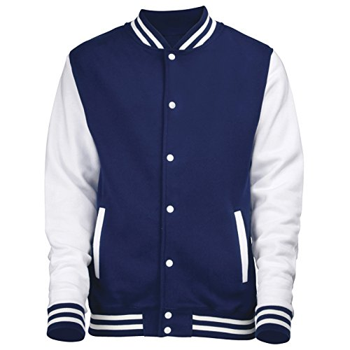 ex College Baseball-Jacke American Letterman Style, Oxford Navy / Weiß - - Oxford Navy / White - 12 Jahre (Letterman Jacken Für Kinder)