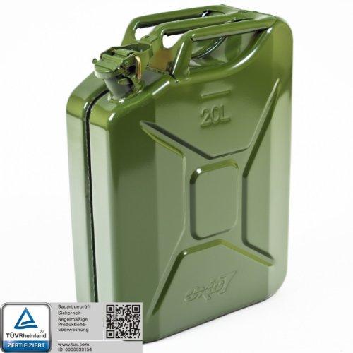 Oxid7® Benzinkanister Kraftstoffkanister Metall 20 Liter Olivgrün mit UN-Zulassung - TÜV Rheinland Zertifiziert - Bauart geprüft