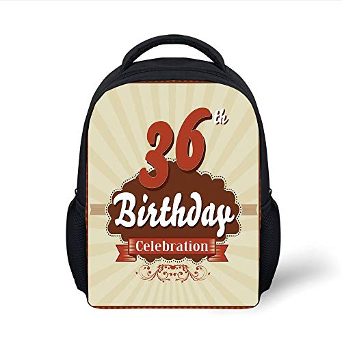 Kids School Backpack 36th Birthday Decorations,Birthday Celebration Invite Chocolate Wrap Like Image,Cinnamon and Brown Plain Bookbag Travel Daypack - 36 Rolling Duffle