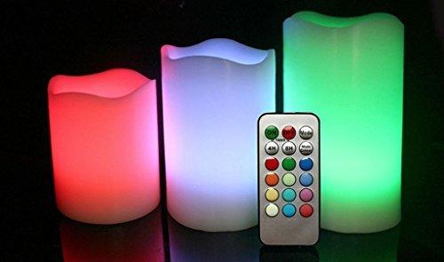 Preisvergleich Produktbild NEU 3 pcs Fernbedienung 12 Colour Wechselnd LED Flameless Wachs Kerzen Mit Zeitgeber