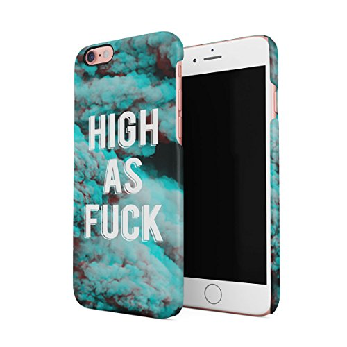 High As Fuck Trippy Blue Smoke Pattern Dünne Rückschale aus Hartplastik für iPhone 6 & iPhone 6s Handy Hülle Schutzhülle Slim Fit Case cover