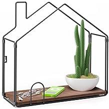 Balvi - Haus estante con forma de casa. Repisa de madera. Fabricado en metal.