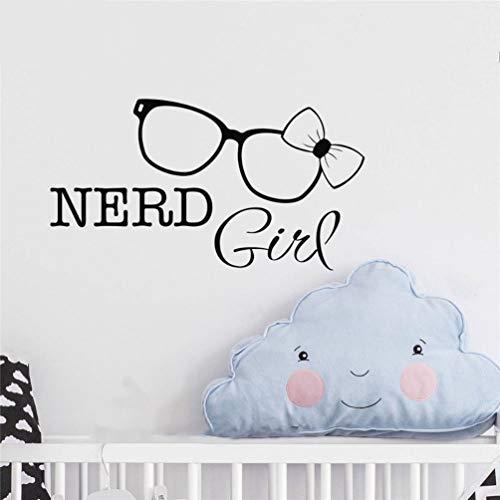 wandaufkleber 3d Wandtattoo Wohnzimmer Nerd Girl Zitate Brille Knoten Cute Decor Home Dekor für Kinderzimmer Kinder Schlafzimmer Wohnzimmer