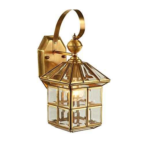 LOFAMI Retro im Freien wasserdichtes Korrosions-Kupfer-Wand-Licht E27 Land-Glas-kleines Haus-Modell-Balkon-Querwand-Licht