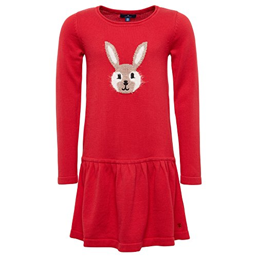 TOM TAILOR Kids Mädchen Kleid Sweet Knitted Dress, Rot (Dark Blossom Red 4782), 122 (Herstellergröße: 116/122)