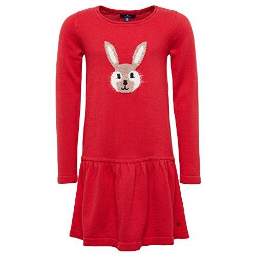 TOM TAILOR Kids Mädchen Kleid Sweet Knitted Dress, Rot (Dark Blossom Red 4782), 122 (Herstellergröße: 116/122)