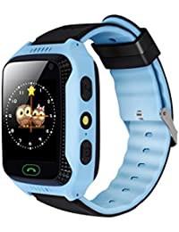 Yongkaida Smart Watch Kids Smartwatch GPS Tracker SOS Call Anti-lost Finder Remote Monitor SIM Card Touch Screen Camera Flashlight for Android and IOS Y22 Blue