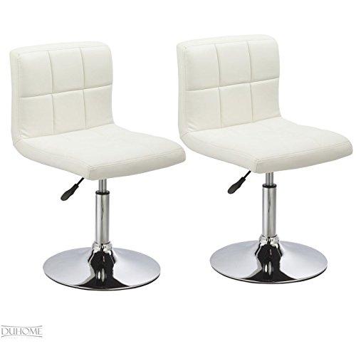 2er Set Esszimmerstuhl Weiß aus Kunstleder Küchenstuhl mit Lehne höhenverstellbar drehbar Stuhl Duhome 0632