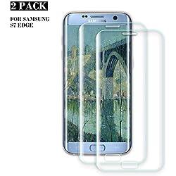ZOLMAG Galaxy S7 Edge Verre Trempé, [Lot de 2] Ultra-Thin 9H Dureté HD Film Protection écran pour Samsung Galaxy S7 Edge, Haute qualité Ultra Claire, Ultra Résistant, Anti-Rayures, sans Bulles d'air