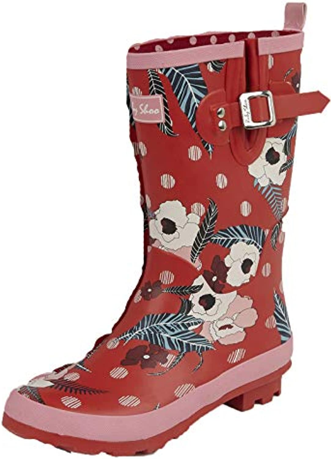Ruby Shoo Ladies Hermione rosso rosso rosso rosa Floral Short Leg Wellies stivali 09296-UK 8 (EU 41) | flagship store