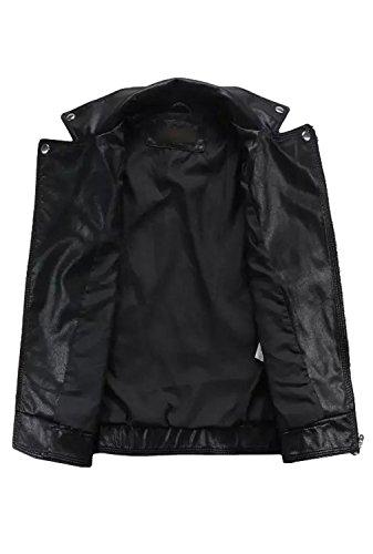 URqueen Women's Sleeveless Faux Leather Lapel Zipper Vest Waistcoat Black