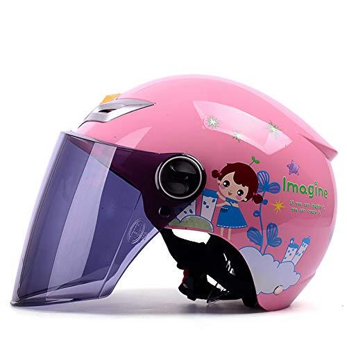 elektrische motorradhelm Baby weibliches Kind Sonnencreme Sommer Batterie reiten, geeignet für Kinder im Alter von 3-13 (48 cm-54 cm).-1 ()