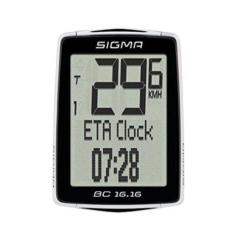 Sigma Sport Fahrrad Computer BC 16.16, 16 Funktionen, Ankunftsanzeige, Kabelgebundener Fahrradtacho, Schwarz