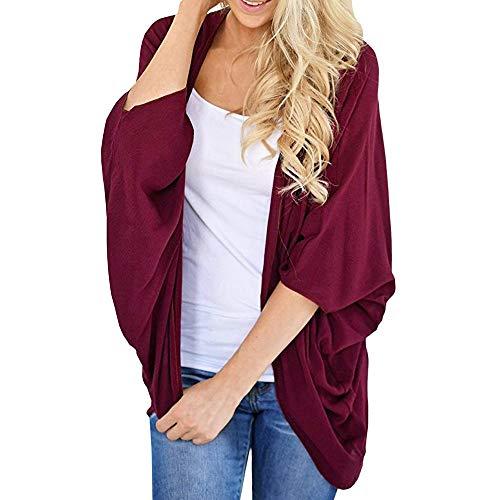 OSYARD Damen Halbe Ärmel Mäntel Chiffon, Frauen Sommer Solid Color Kimono Cardigan Lose ÄRmel Bedecken Mantel Jacken Westen (XL, ()