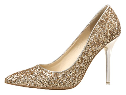 HooH Femmes Escarpins 9.5 CM Pointu Paillettes Couleur pure Talon haut Stiletto mariage Escarpins Slip On Or
