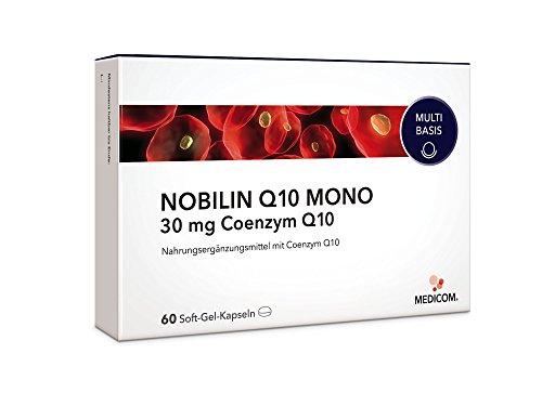 NOBILIN Q10 Kapseln normal dosiert, 60 Stück • 30mg pro Tagesdosis • Reines Coenzym Q10 - unterstützt Herz-Kreislaufsystem • Immunsystem & Nerven • für mehr Energie • Anti Aging - Tabletten Made in Germany • Bekannt aus Ihrer Apotheke