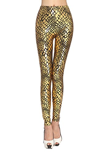 Queenshiny® Damen wetlook latexlook Ganzkörper Leggings Hohe Taille Leder Optik (One-size, Gold-2) (Gold Mädchen Leggings)