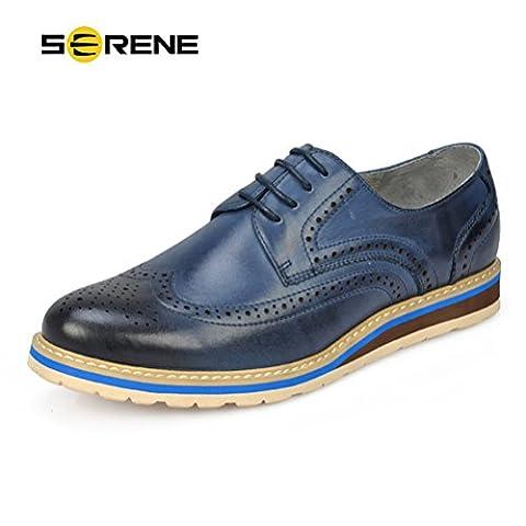 SERENE Retro Mens Dress Shoes Leather Formal Business Brogue Shoes for Men - Brown, Blue