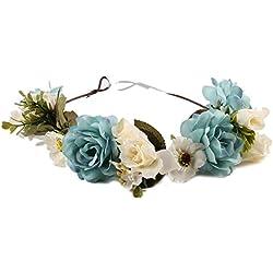 Diadema de Flor,TININNA Guirnalda Floral Corona de Pelo Cabeza para Fiesta Boda Featival de la Mujer Niña-Azul