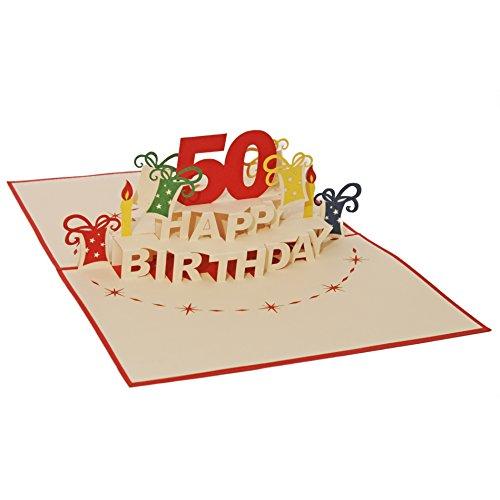 Favour Pop Up Glückwunschkarte zum runden 50. Geburtstag. Ein filigranes Kunstwerk, das sich beim Öffnen des gestalteten roten Umschlags entfaltet. TA50R (12x17)