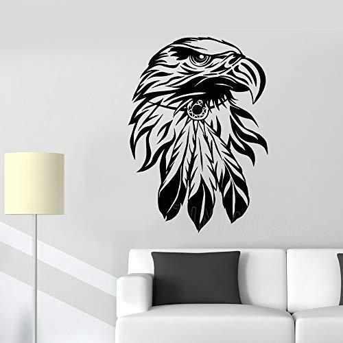eeadler Vogelkopf Wandtattoo Amerika Symbol Aufkleber Wohnkultur Wohnzimmer Abnehmbare Vinyl Jungen Kinderzimmer Aufkleber Wandbilder grau 56X78 cm ()
